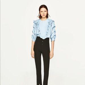 NWT Zara Chambray Bib Ruffled Frill Sleeve Blouse